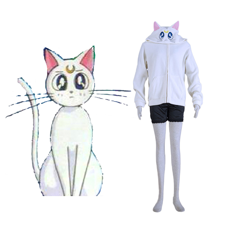 Sailor Moon vit Cat Artemis Cosplay Kostym Sverige