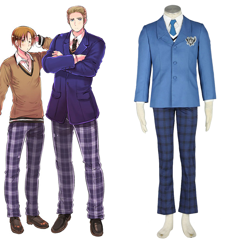 Axis Powers Hetalia Vinter Male School Uniform 1 Cosplay Kostym Sverige