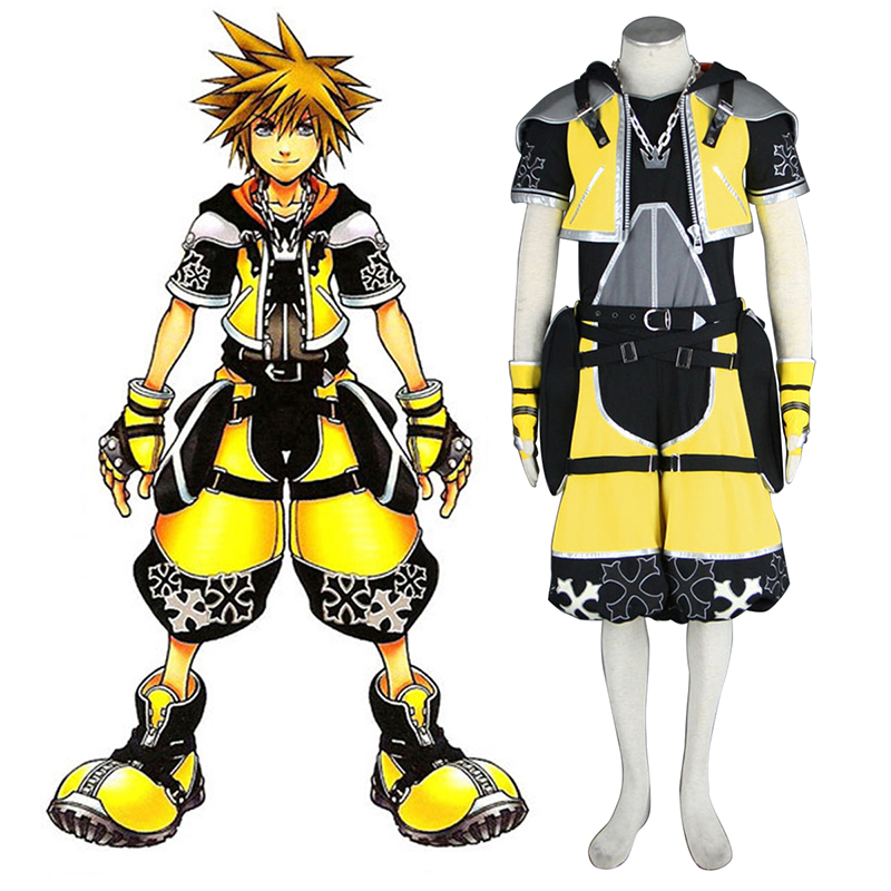 Kingdom Hearts Sora 3 Yellow Cosplay Kostym Sverige