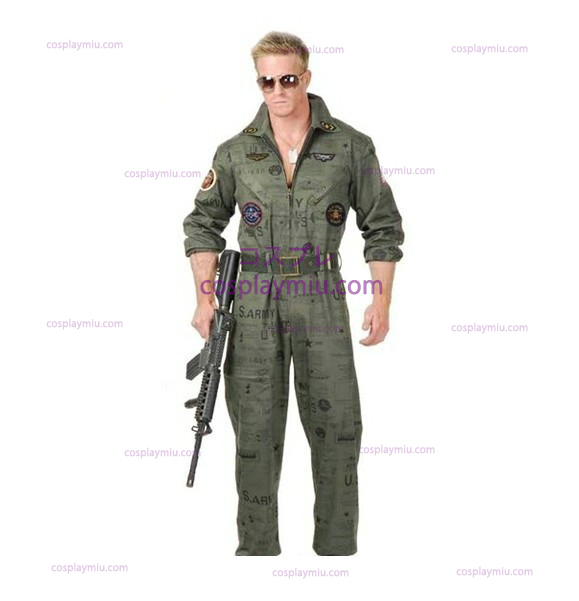 Top Gun Air Force Army Flight Suit Halloween dräkt