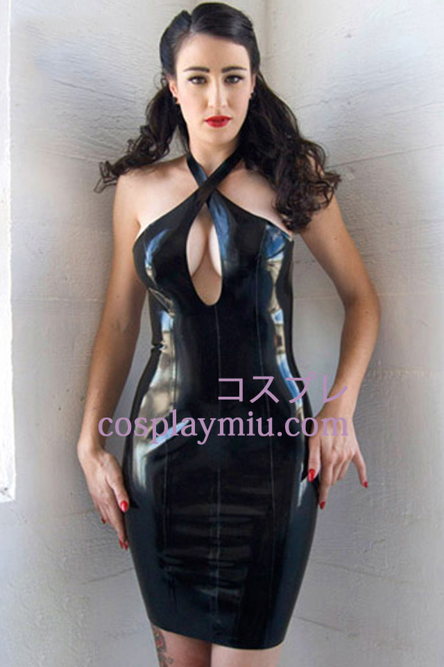 Black Sexy Latex Dress Halter urringning