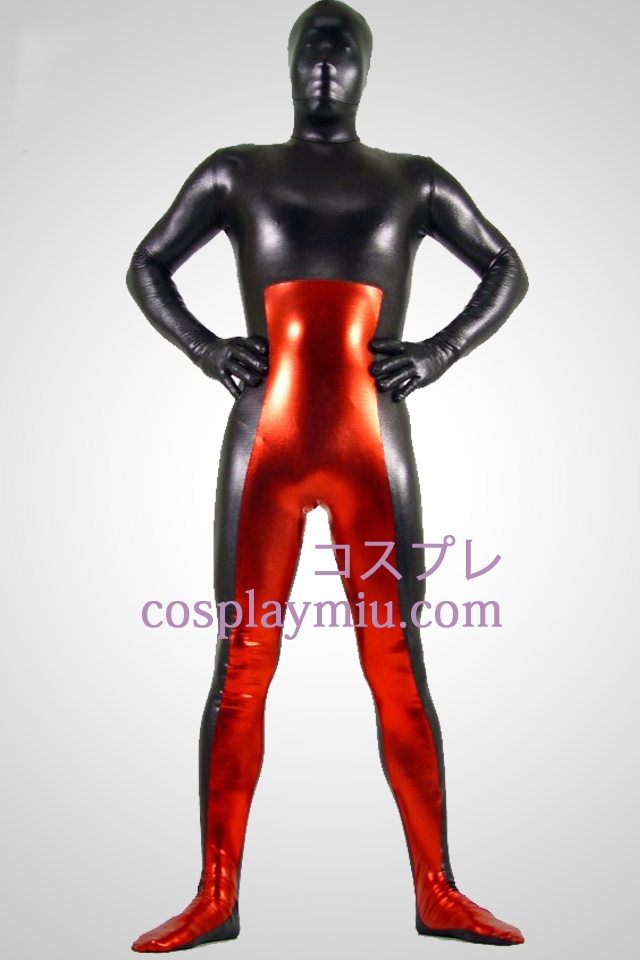 Black And Red metallskimrande Zentai Suit