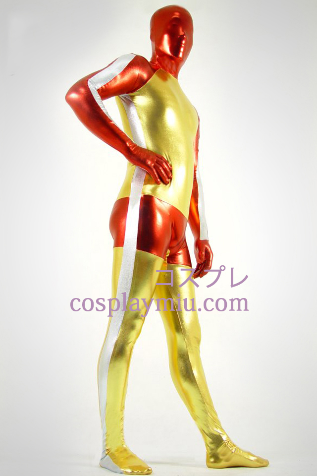 Metallskimrande Golden Red and White Zentai Suit