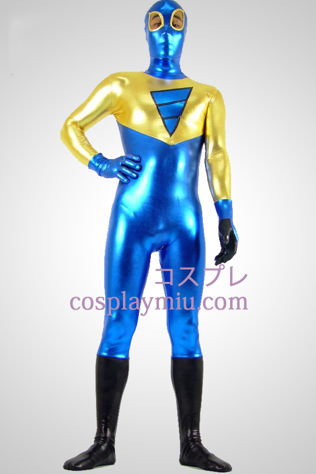 Shiny Metallic Golden svart och blå Zentai Suit Med Eye Open