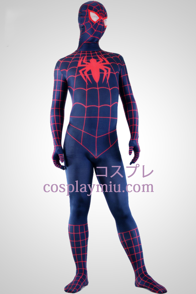 Deep Blue och Red Lycra Spandex Spiderman Superhero Zentai Suit