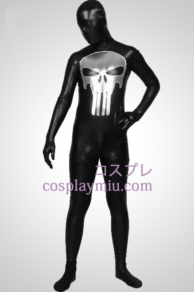 Svart metallskimrande Punisher mönster Zentai Suit